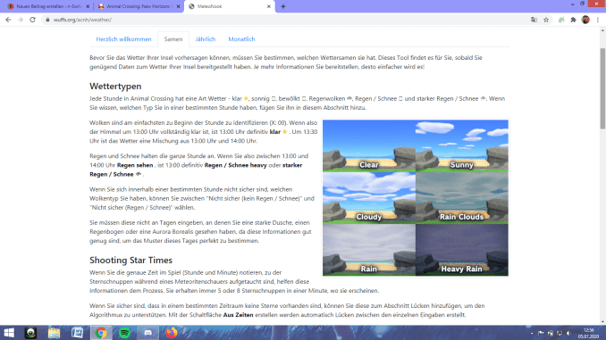 """Das Bild zeigt die verschiedenen Wetter-Typen in """"Animal Crossing: New Horizons""""."""