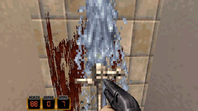 Das Bild zeigt Duke Nukem vor einer Toilette.