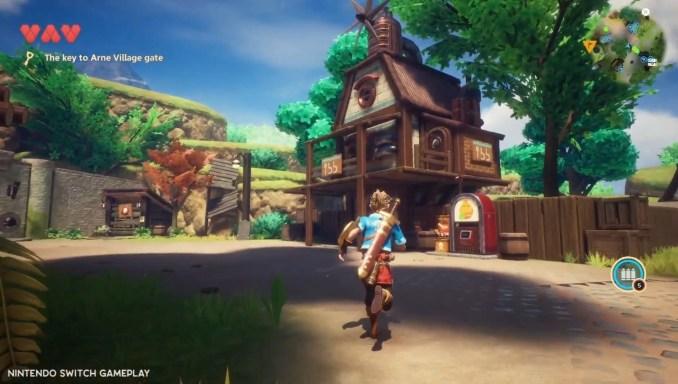 """Das Bild zeigt den Protagonisten von """"Oceanhorn 2"""" im Dorf."""