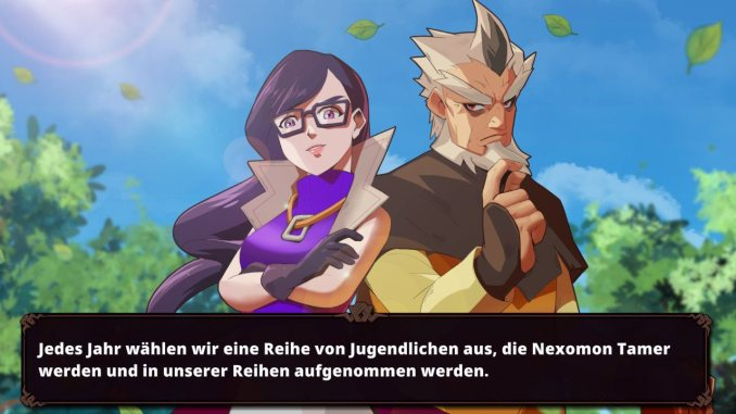 """Das Bild zeigt eine Szene aus dem Spiel """"Nexomon: Extinction"""". Man erkennt zwei in der Story relevante Personen."""