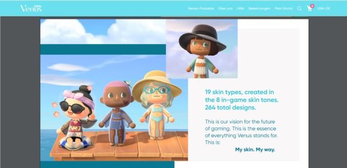 """Das Bild zeigt Ausschnitte aus der Design-Kollektion in """"Animal Crossing: New Horizons""""."""