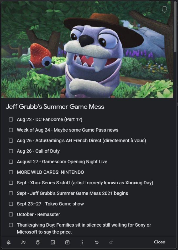 Dieses Bild zeigt die Liste von jeff Grubb's Nintendo Direct Spielen