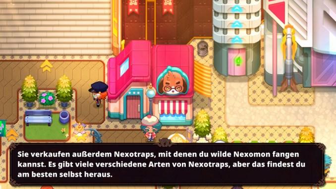 """Das Bild zeigt eine Einkaufsmöglichkeit in dem Spiel """"Nexomon: Extinction"""". Es handelt sich um einen Laden."""
