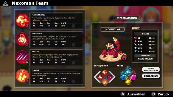 """Das Bild zeigt die Fähigkeiten eines meiner Nexomon in dem Spiel """"Nexomon: Extinction""""."""