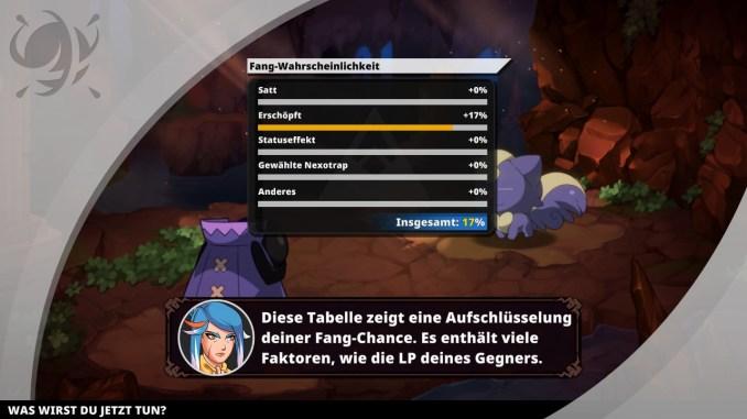 """Das Bild zeigt die Fangwahrscheinlichkeit eines wilden Nexomon an. Es handelt sich um eine Szene aus dem Spiel """"Nexomon: Extinctio""""."""