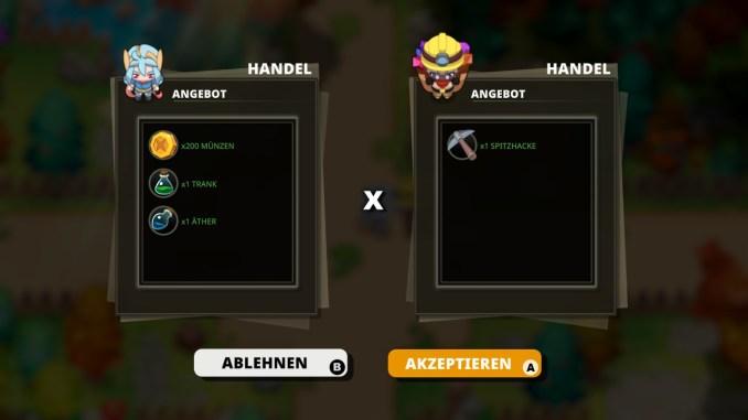 """Das Bild zeigt einen Handel in dem Spiel  """"Nexomon: Extinction""""."""
