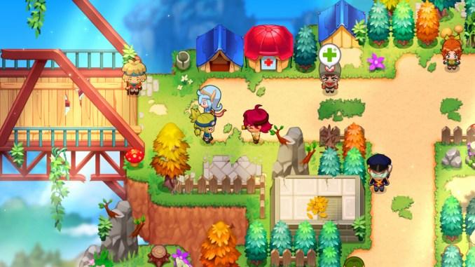 """Das Bild zeigt einen mobilen Heiler ind er Nähe des Waisenhauses. Es handelt sich um einen Ort in dem Spiel """"Nexomon: Extinction""""."""