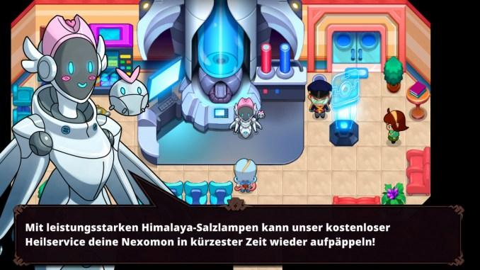 """Das Bild zeigt das Heilzentrum in der Stadt Parum. Es handelt sich um einen Ort in dem Spiel """"Nexomon: Extinction""""."""