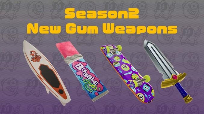 """Das Bild zeigt die neuen Waffen in """"Ninjala""""."""