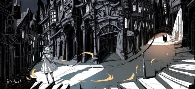 """Das Bild zeigt eine Szene aus dem Spiel """"Iris.Fall"""". Man sieht die Protagonistin, welche eine schwarze Katze verfolgt."""