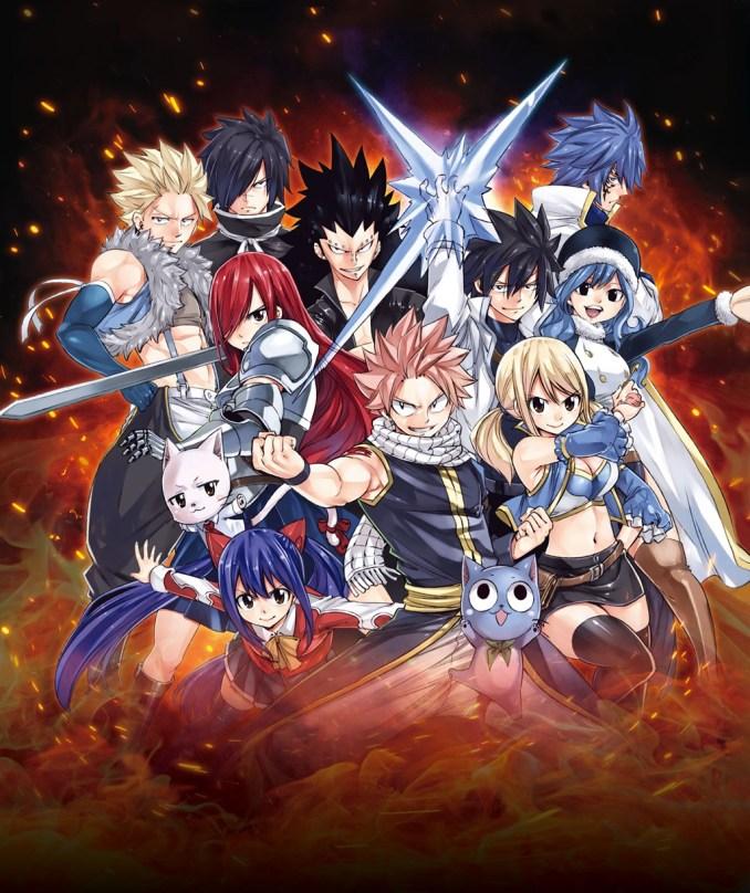 """Das Bild zeigt ein Gruppenbild der Charaktere von """"Fairy Tail""""."""