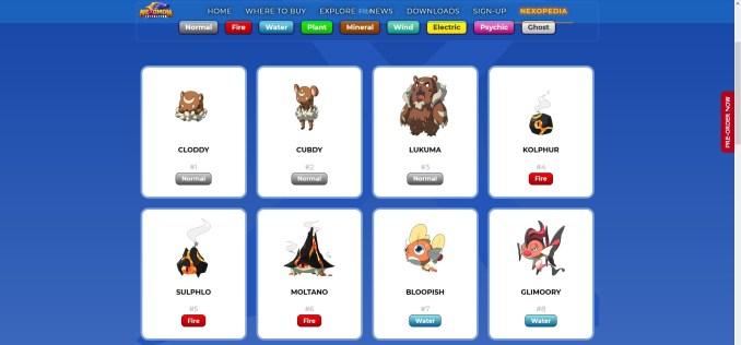 """Das Bild zeigt einen Auszug aus dem Nexopedia, welches sich mit den Nexomon aus dem Spiel """"Nexomon: Extinction"""" befasst."""