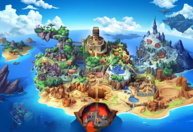 """Das Bild zeigt die Weltenkarte von  """"Nexomon: Extinction""""."""