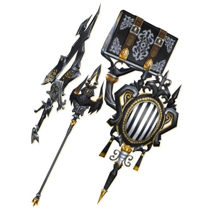 Das Bild zeigt ein paar Waffen aus einem Final Fantasy Crystal Chronicles DLC