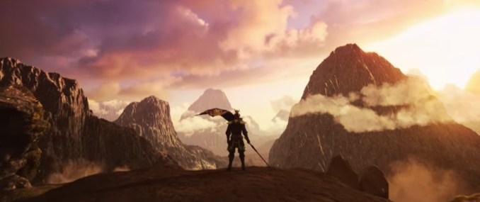 """Das Bild zeigt einen Krieger aus der Ferne in einer Gebirgslandschaft von """"Dynasty Warriors 9 Empires""""."""