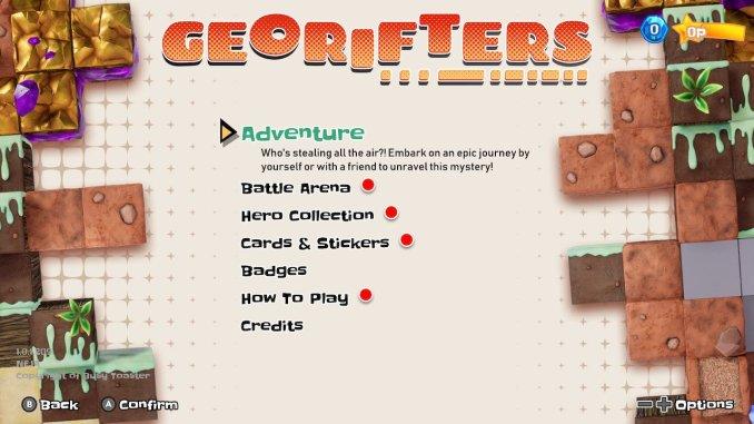 """Das Bild zeigt den Reiter Adventure im Menü von """"Georifters""""."""