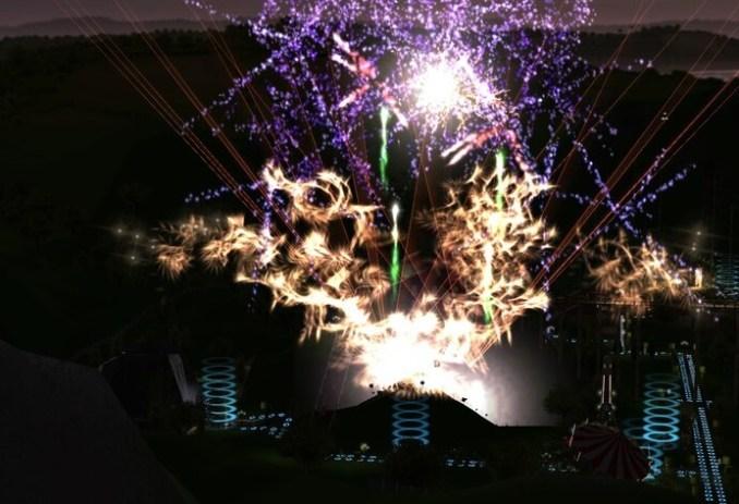 Dieses Bild zeigt eindrucksvoll wie Feuerwerk aussieht in RollerCoaster Tycoon 3
