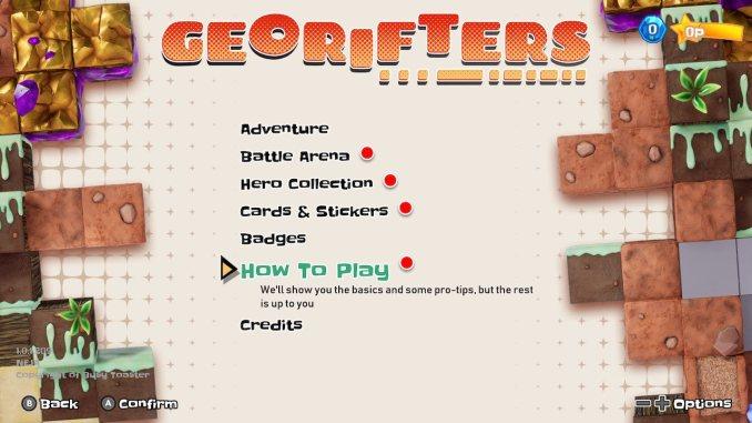 """Das Bild zeigt den Reiter How To Play imd Menü von """"Georifters""""."""