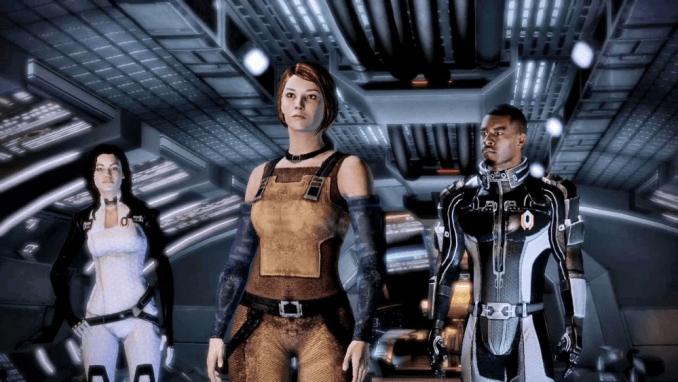 Das Bild zeigt die Mass Effect Team-Mitglieder im Raumschiff