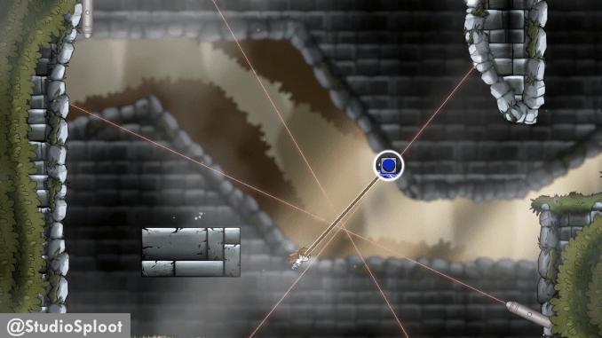 Das Bild zeigt einen Haufen Laser als Hindernis bei PlayBound