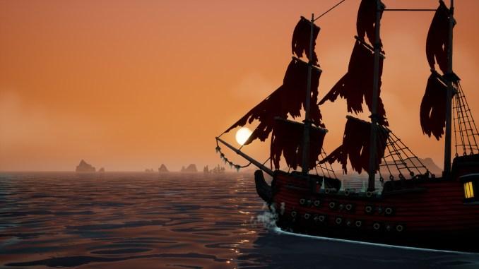 """Das Bild zeigt einen Sonnenuntergang in dem Spiel """"King of Seas""""."""