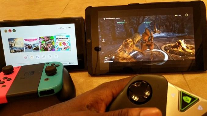 Dieses Bild zeigt die Nintendo Switch und das Nvidia Shield