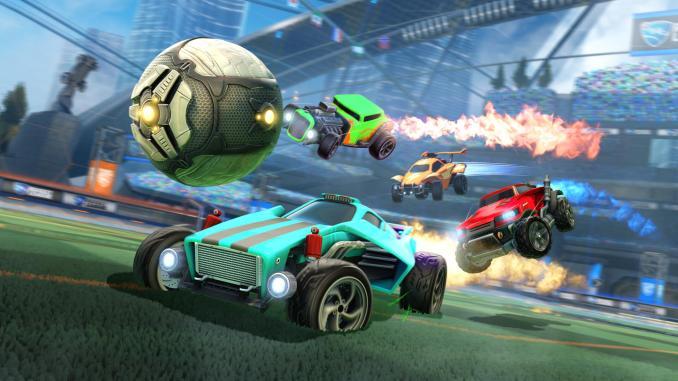 """Das Bild zeigt vier Fahrzeuge im """"Rocket League""""-Stadion."""