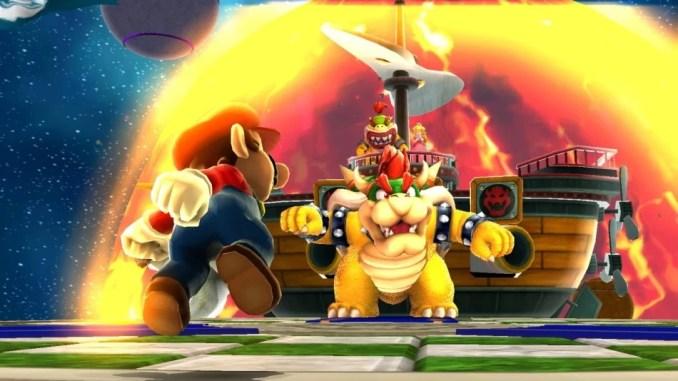 Dieses Bild zeigt Mario & Bowser in Angesicht zu Angesicht stehen in Super Mario 3D All-Stars