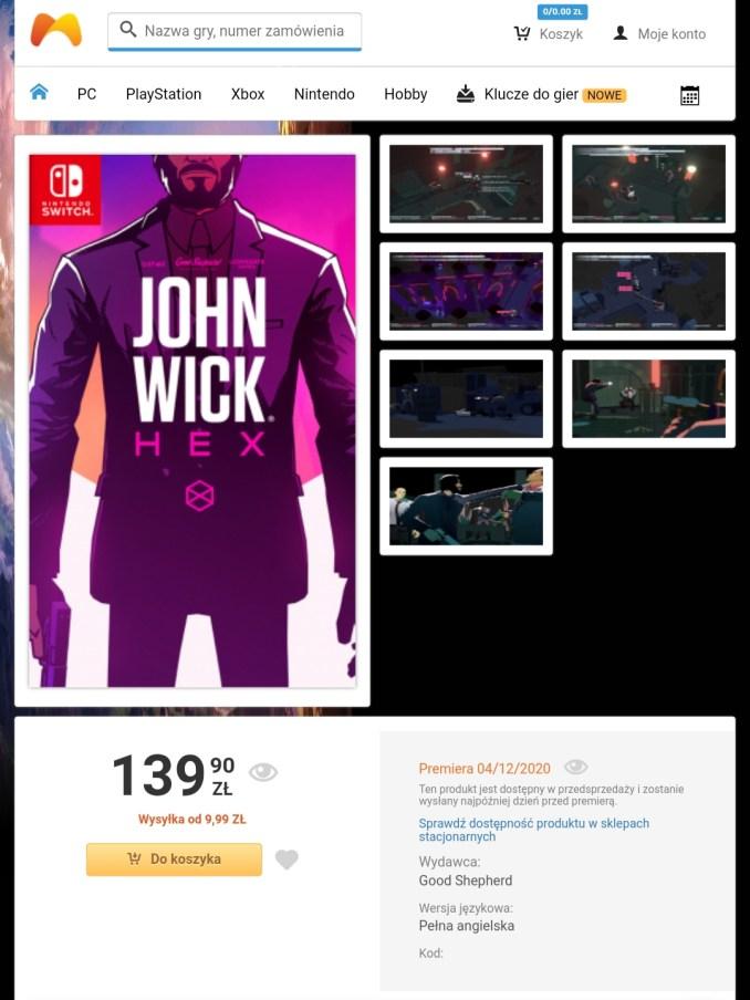 """Das Bild zeigt die Listung inkl. Coverart von """"John Wick Hex""""."""
