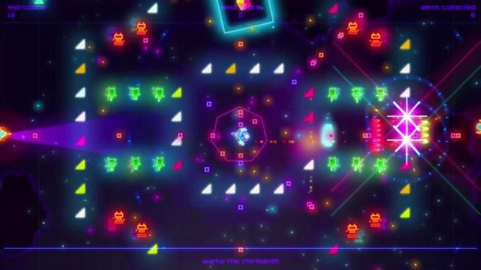 """Das Bild zeigt eine extrem bunte Szene aus dem Spiel """"Death Ray Manta SE""""."""