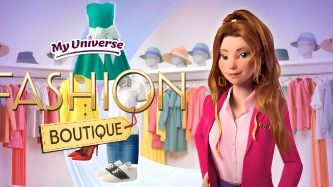 """Das Bild zeigt das Logo und den Hauptcharakter von """"My Universe: Fashion Boutique""""."""