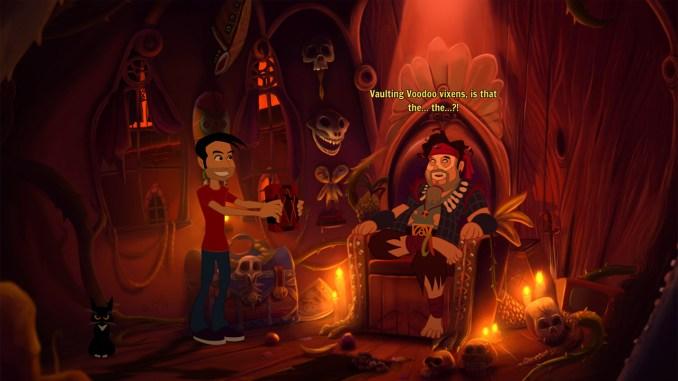 """Das Bild zeigt einen Piraten, welcher mit einem der Protagonisten kommuniziert. Es handelt sich um eine Szene aus dem Spiel """"Gibbous - A Cthulhu Adventure""""."""