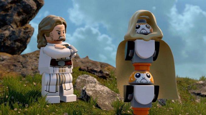 Auf dem Bild sieht man die Porks, welche den Umhang von Luke Skywalker tragen aus Lego Star Wars: The Skywalker Saga