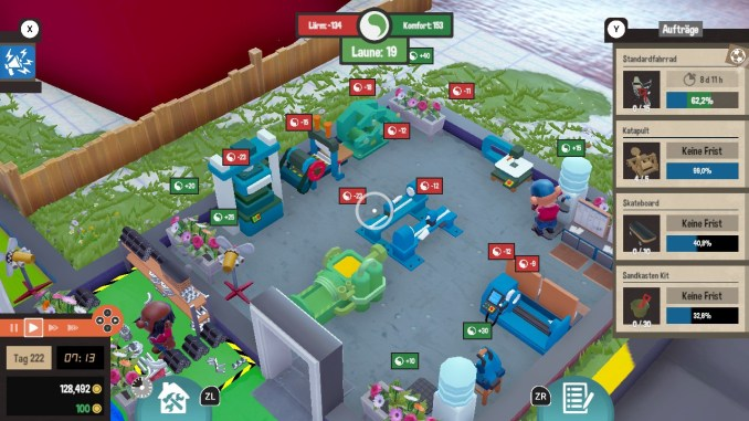 """Das Bild zeigt eine Industriehalle in dem Spiel """"Little Big Workshop""""."""