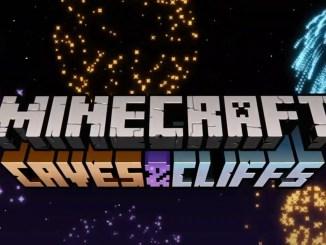"""Das Bild zeigt das Logo des neusten Updates von """"Minecraft"""" mit Namen """"Caves and Cliffs""""."""