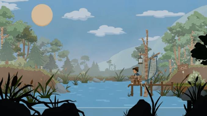 """Das Bild zeigt den angelnden Protagonisten aus dem Spiel """"Legends of Ethernal"""" am See stehend."""