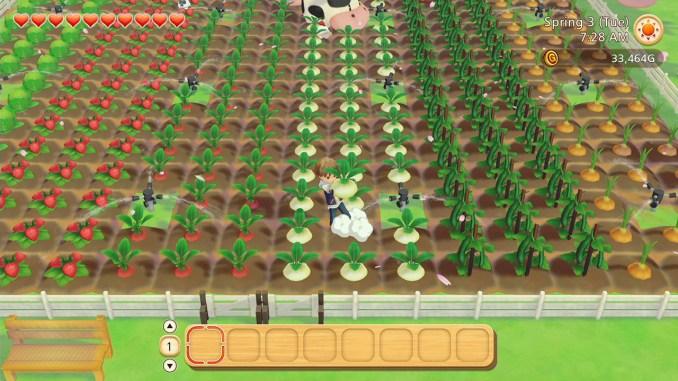 """Das Bild zeigt die Felder in dem Spiel """"STORY OF SEASONS: Pioneers of Olive Town""""."""