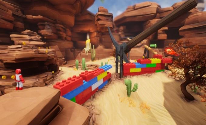 """Das Bild zeigt eine nicht komplette Brücke aus Lego in """"Supraland""""."""