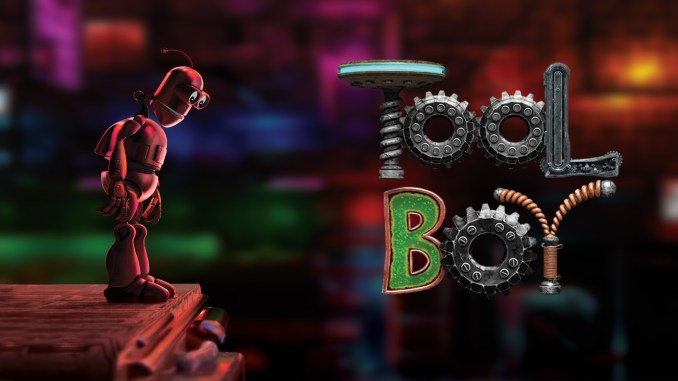 """Das Bild zeigt den Protagonisten und das Logo von """"Toolboy""""."""