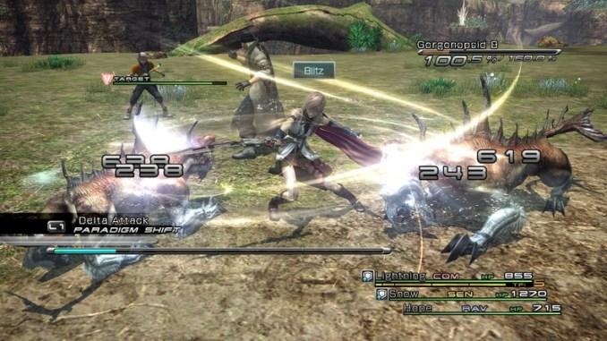 """Das Bild zeigt einen Kampf in """"Final Fantasy XIII""""."""