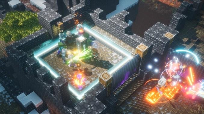 """Das Bild zeigt den Kampf mit einigen Gegnern in """"Minecraft Dungeons""""."""