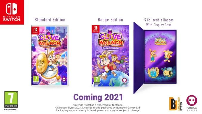 """Das Bild zeigt die Retail-Versionen von """"Clive 'N' Wrench""""."""