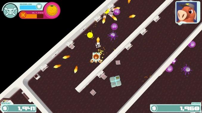 """Das Bild zeigt eine Szene aus dem Spiel """"GUNPIG: Firepower For Hire""""."""