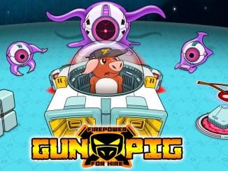 """Das Bild zeigt das Titelbild und das Logo von """"GUNPIG: Firepower For Hire""""."""