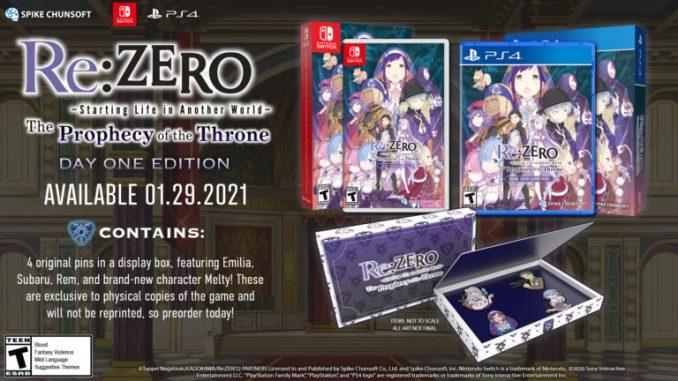 """Das Bild zeigt die Day One-Edition von """"Re:ZERO -Starting Life in Another World- The Prophecy of the Throne""""."""