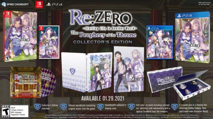 """Das Bild zeigt die Collecto-Edition von """"Re:ZERO -Starting Life in Another World- The Prophecy of the Throne""""."""