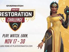 """Das Bild zeigt das Logo des neusten Events in """"Overwatch"""", die Symmetra's Restoration Challenge."""