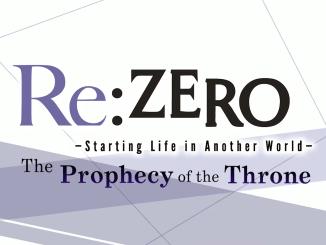 """Das Bild zeigt das Logo von """"Re:ZERO -Starting Life in Another World- The Prophecy of the Throne""""."""