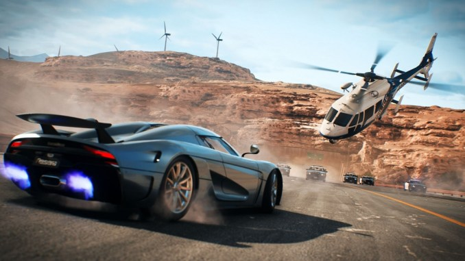 """Das Bild zeigt einen Racer gegen die Polizei inkl. Hubschrauber aus """"Need for Speed: Hot Pursuit Remastered""""."""