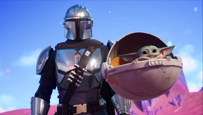 """Das Bild zeigt den Mandalorianer und Baby-Yoda in """"Fortnite""""."""